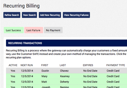 AGMS Gateway Recurring Billing Report