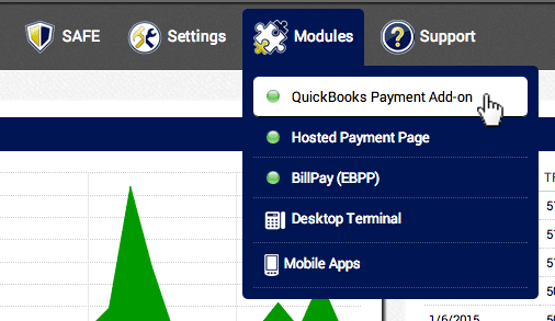 In the AGMS Gateway, navigate to Modules and click QuickBooks® Payment Add-on