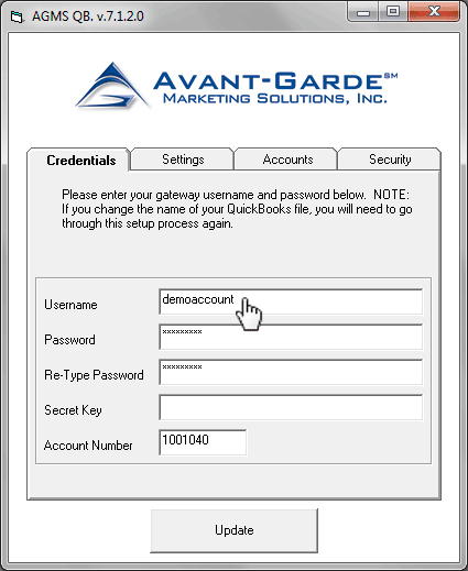 In the Setup dialog box under the Credentials tab, enter in the credentials for logging into the AGMS Gateway
