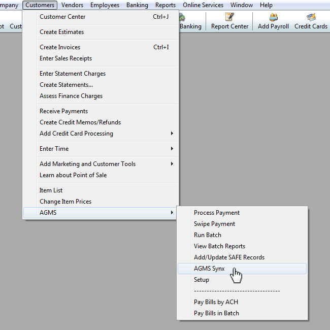 Under the Customers tab, navigate to AGMS and select AGMS Synx to show the synx dialog box