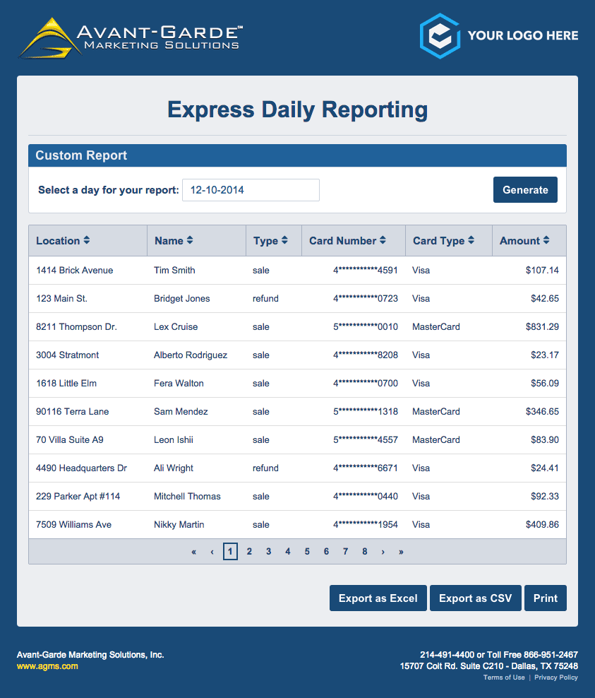 AGMS Gateway Express Daily Reporting